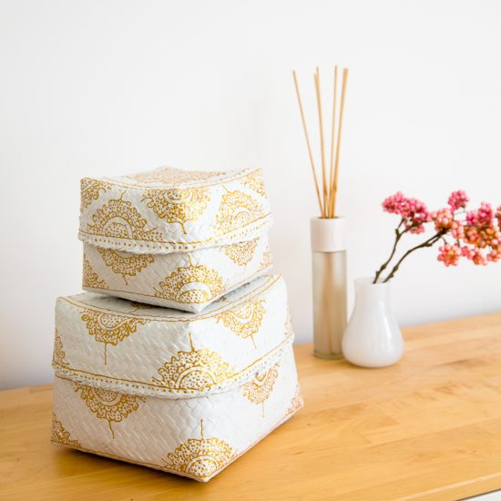 hand-painted baskets white